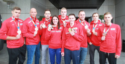 Arrival of athletes medalists from indoor European Championships in Belgrade